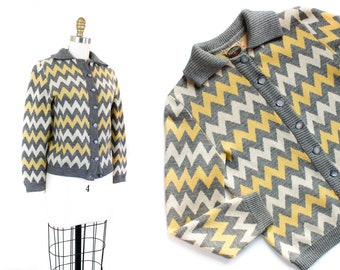 1950s cardigan // Electric Zig Zag vintage 1950s knit cardigan sweater by Catalina MD