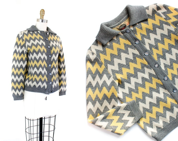 Featured listing image: 1950s cardigan // Electric Zig Zag vintage 1950s knit cardigan sweater by Catalina MD