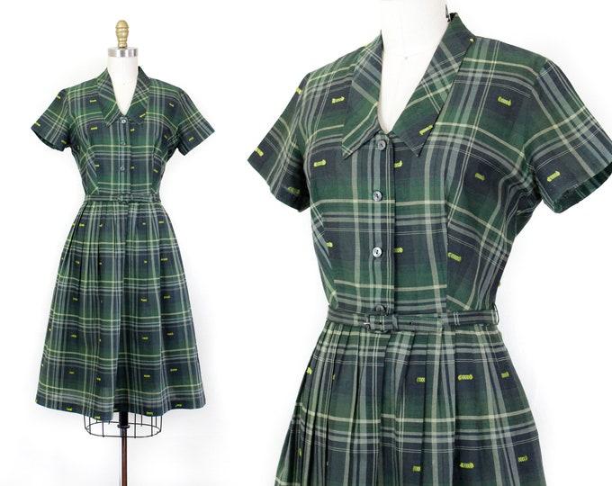 Featured listing image: 1960s plaid dress // Verdant Welcome vintage green plaid 60s shirtwaist dress by Paint Set md