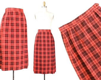 1950s plaid skirt // Candied Cranberry vintage 1950s Jantzen wool skirt . sm /small