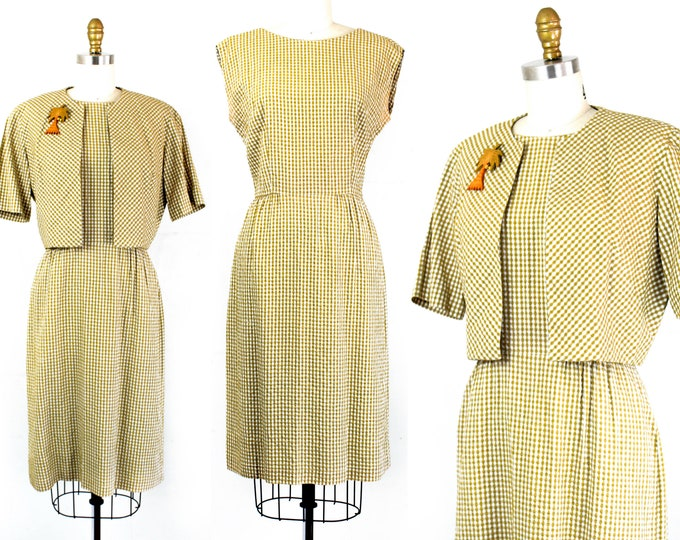 Featured listing image: Palm Springs . 1960s yellow gingham seersucker dress and jacket by jean Lang . md / lg