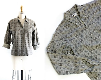 SALE 1960s paisley shirt // Prep School vintage 60s long sleeve shirt sm / small