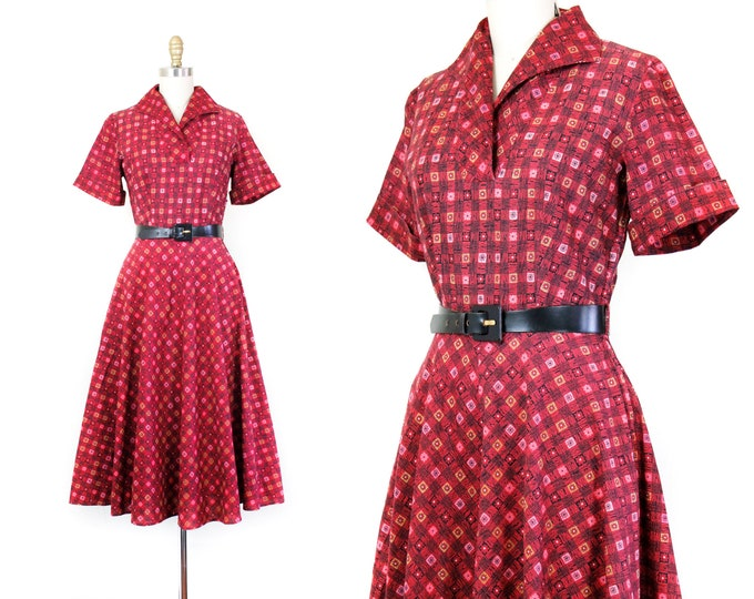 Featured listing image: Juliette Cherry // 1950s Fruit of the Loom red cotton dress sm