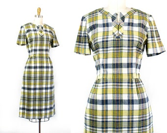 1960s plaid dress // Bookish yellow and blue plaid 60s dress . sm / md
