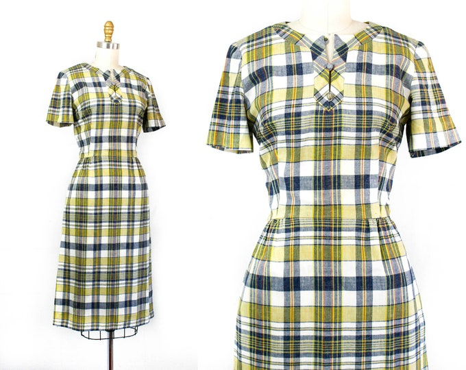 Featured listing image: 1960s plaid dress // Bookish yellow and blue plaid 60s dress . sm / md