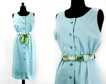 Vintage 1960s chambray dress . Hyacinth blue sundress  . md / medium