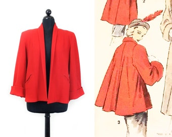 1950s red coat // Pomegranate vintage 1940s / 50s red cropped wool swing coat md / lg