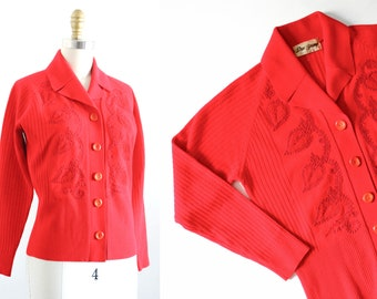Paprika . 60s/1970s red paisley soutache cardigan with collar . sm / md