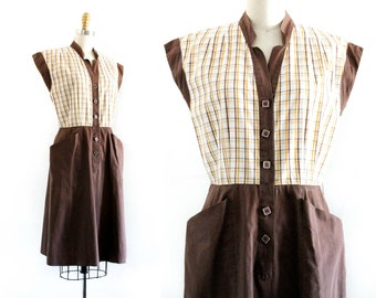 1940s plaid dress // brown and yellow two tone day dress . md