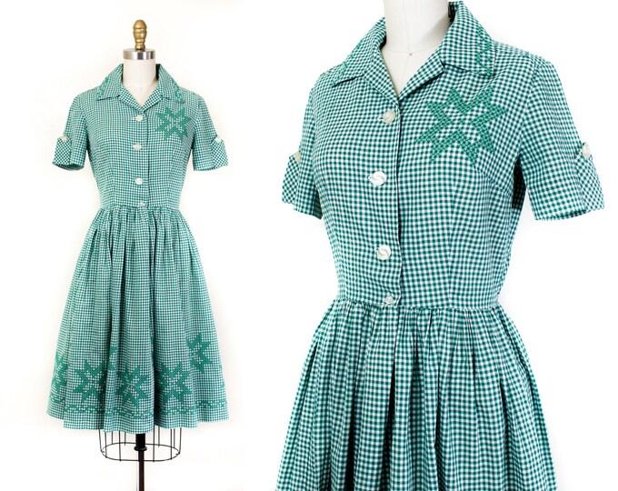 Featured listing image: Estrella Verde // 1950s green gingham and cross stitch shirtwaist dress sm