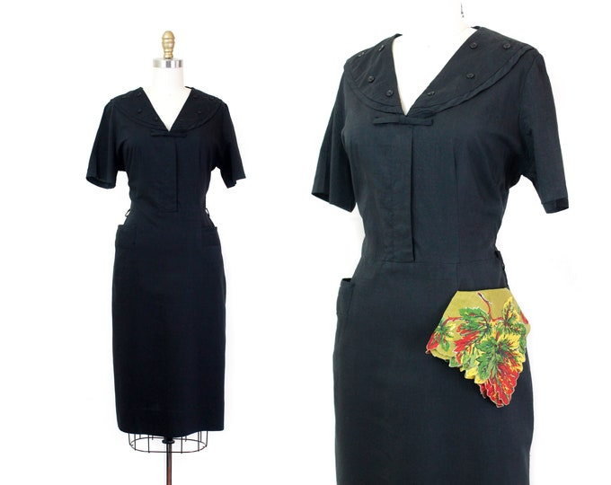 Featured listing image: Witch About Town // 1950s black cotton sheath dress with shawl collar lg