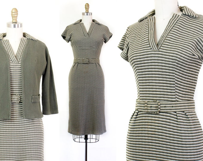 Featured listing image: Evergreen and Sage // 1960s green striped knit dress and jacket set  sm