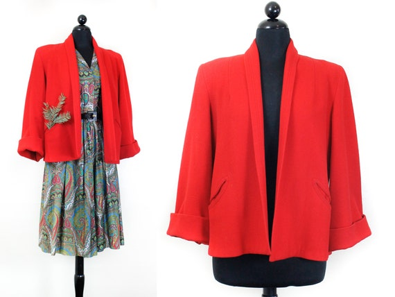 1940s red coat // Pomegranate vintage 1940s red cr