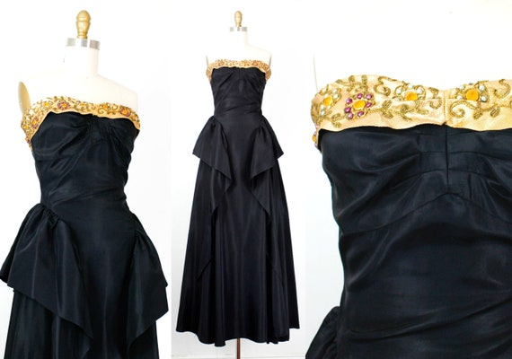 Vintage 1950s Black Gown The Golden Hour Black Rayon Etsy