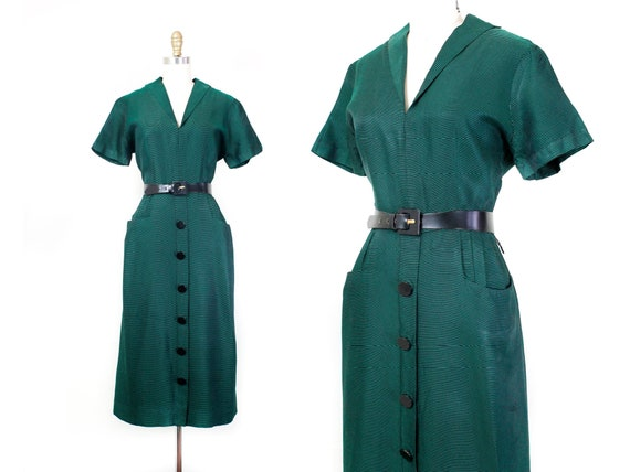 1950s green dress // Evergreen vintage 40s / 50s s
