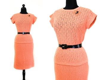 Pumpkin Glow // 1960s orange crocheted skirt and top set  Md