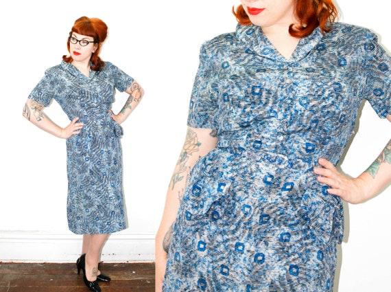 1940s dress // Shady Lady vintage 1940s blue silk