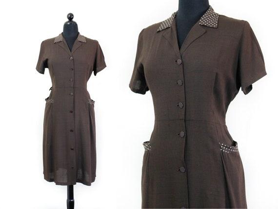 1940s brown dress //  Dark Chocolate vintage  40s