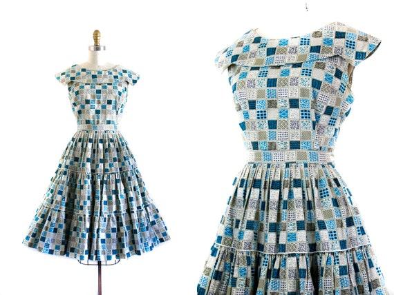 1960s patio dress set //  Holly Hobbie blue patchw