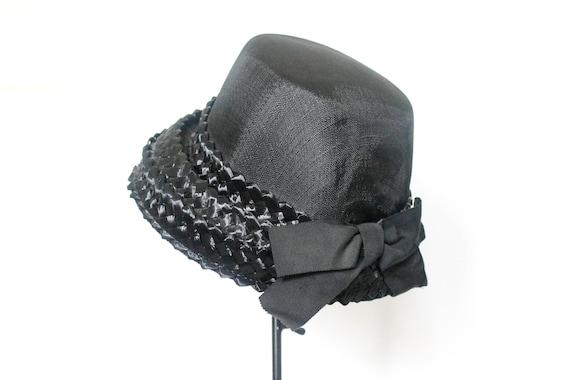 Vintage 1950s black straw hat . Shady Lady . woven raffia  85d9f235c19c