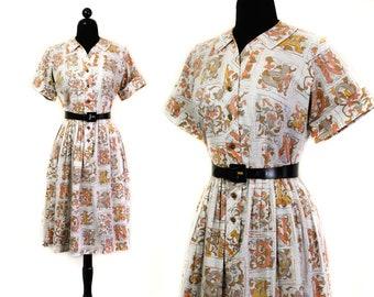 Once Upon a Time // 1950s / 60s alphabet letter print shirtwaist dress md / lg