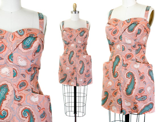 RESERVED 1950s playsuit // Candy Cove pink paisley