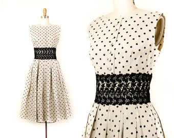 Mademoiselle // 1950s polka dot and black lace party dress Md