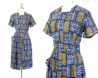 Letters to Van Gogh // 1950s blue zip front dress by Kay Whitney Lg