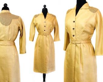 Harvest Moon // 1950s yellow silk illusion dress suit Md/Lg