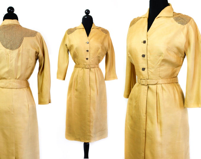 Featured listing image: Harvest Moon // 1950s yellow silk illusion dress suit Md/Lg