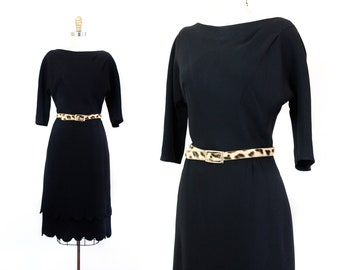 Dark Wave // 1950s black rayon fitted dress with scalloped hem by R&K Originals Md