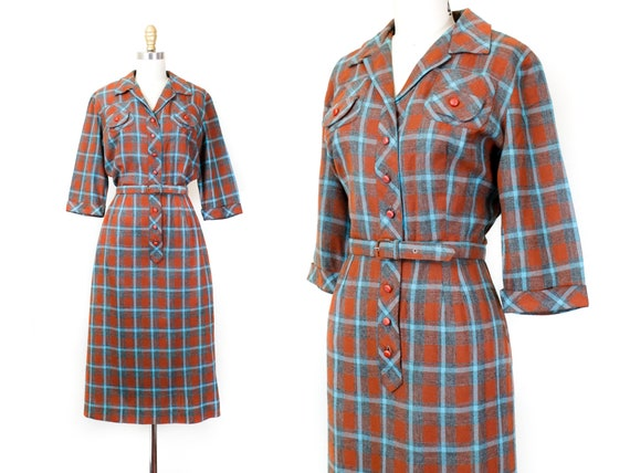 RESERVED 1950s plaid dress // Mystery Writer vinta