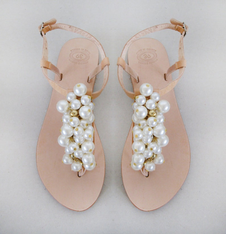 0322484bc30a Wedding shoes Bridal sandals Pearl sandals Handmade