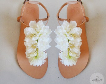 Bridal shoes - Handmade leather sandals decorated with white textile flowers