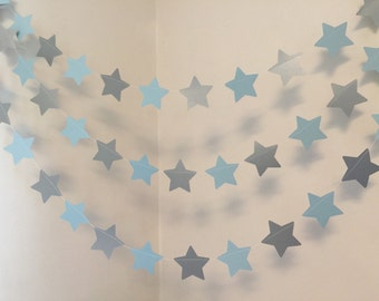 Twinkle Little Star Birthday Decorations Blue Silver Baby Shower Decor Boy Banner 10 Foot Garland Custom Colors