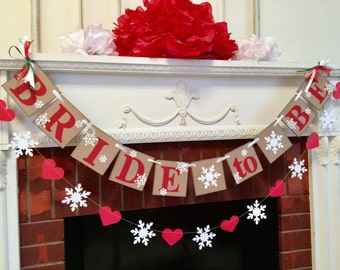 winter bridal shower decorations snowflake bride to be banner red and white bridal shower decor snowflake banner you pick the colors