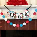 1st Birthday Banner and Garland Set - First Birthday Decorations - High chair banner - Cake Smash photo prop-your color choice