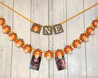 Thanksgiving First Birthday Decorations I am 1 ONE High Chair Banner Little Turkey 12 Month Photo Banner Thanksgiving 1st Year Photos