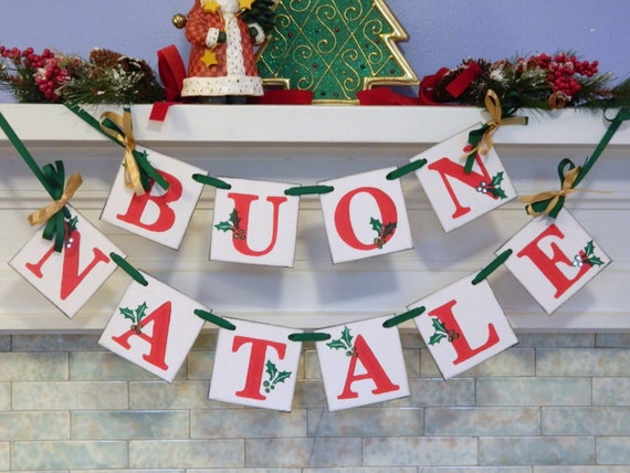 buon natale banner red green gold italian christmas garland vintage inspired italian christmas decorations christmas banners christmas
