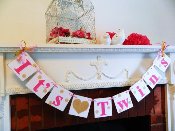 Twins Baby Shower Decorations Twins Baby Shower Banner Girls Etsy