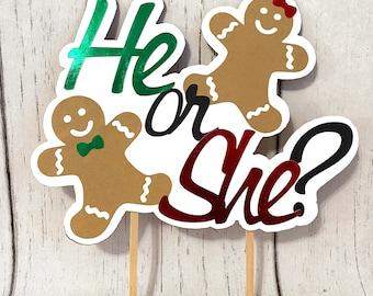 Gingerbread Gender Reveal Cake Topper - Christmas Gender Reveal- Gingerbread Baby Shower Decor- Christmas Baby Shower Banner- Boy or Girl