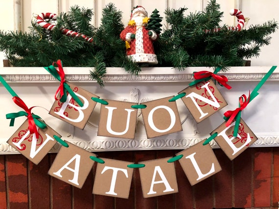 Italian Christmas.Buon Natale Banner Red And Green Italian Christmas Banner Rustic Vintage Inspired Italian Christmas Decorations Christmas Banner