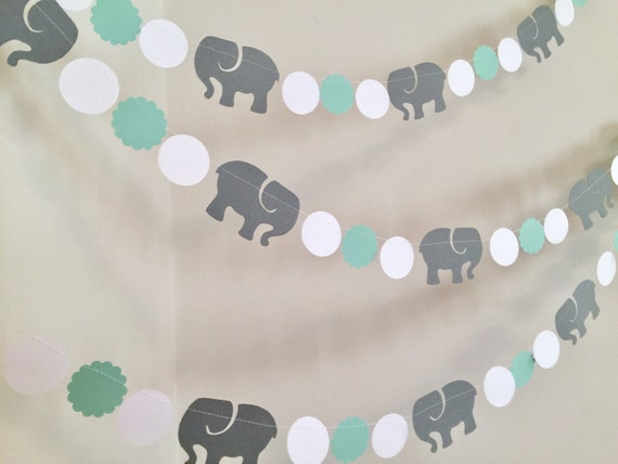 Baby Shower Themes And Colors elephant garland / elephant baby shower decorations / mint & gray