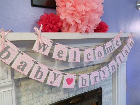 Personalized Baby Shower Decorations Welcome Baby Banner Girl Or