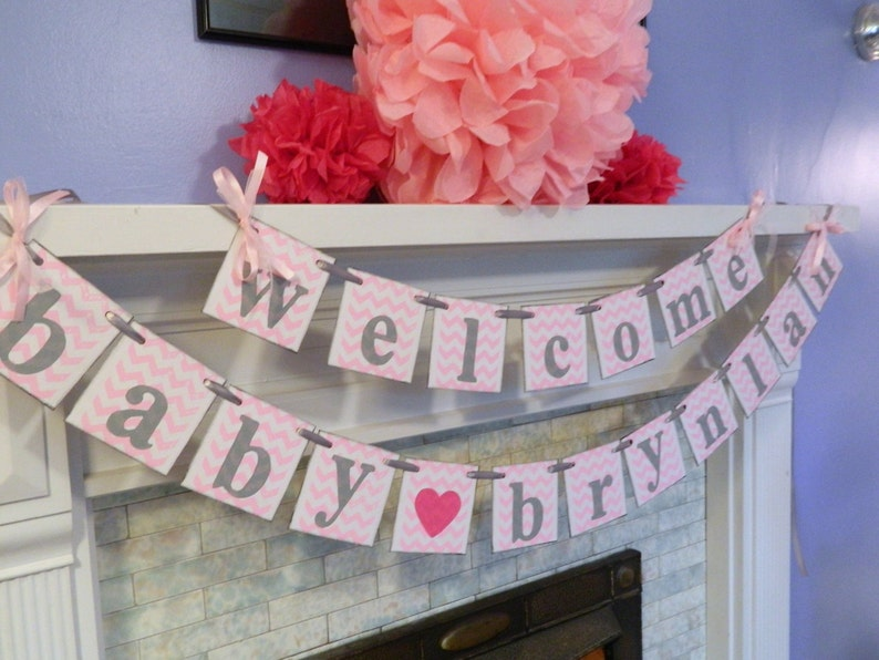 Birth Announcement Welcome Baby Banner Girl or Boy You pick the colors CHEVRON Baby Shower Banner Personalized BABY Shower Decorations