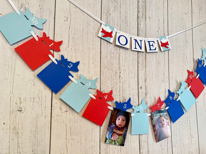 Red and Blue Airplane 1st Birthday Time Flies First Birthday Banner ONE High Chair Banner 12 Month Photo banner boy 1st Year Photos