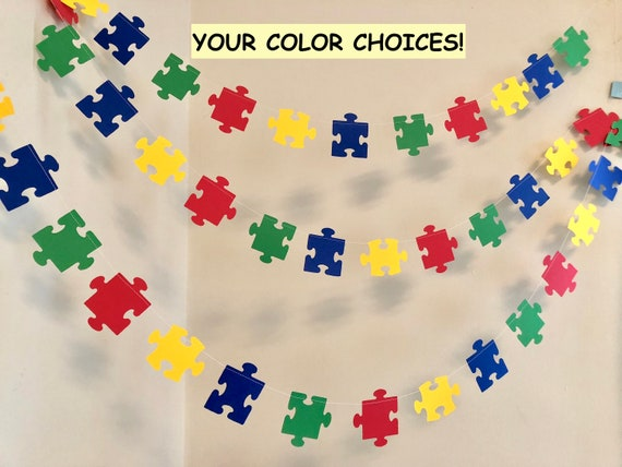 Adoption Shower Decor Primary Colors Puzzle Piece Garland Missing