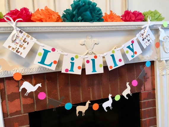 Llama Personalized Happy Birthday Banner Baby Shower Decorations Alpaca 1st 2nd 5th Party