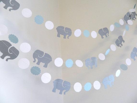 Elephant Baby Shower Decorations Boy Blue Elephant Birthday Etsy