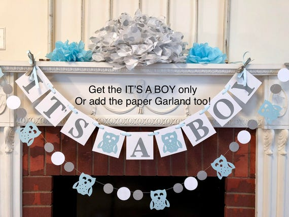Woodland Owl Baby Shower Decorations Its A Boy Baby Shower